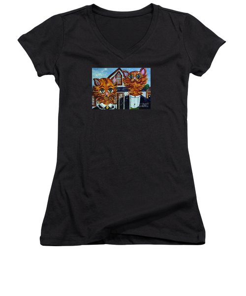 American Gothic Cats - A Parody Women's V-Neck T-Shirt (Junior Cut) by Eloise Schneider