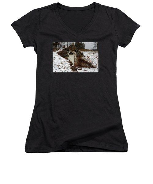 American Hobbit Hole Women's V-Neck T-Shirt (Junior Cut) by Michael Porchik