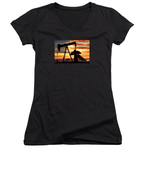 American Oil  Women's V-Neck T-Shirt (Junior Cut)