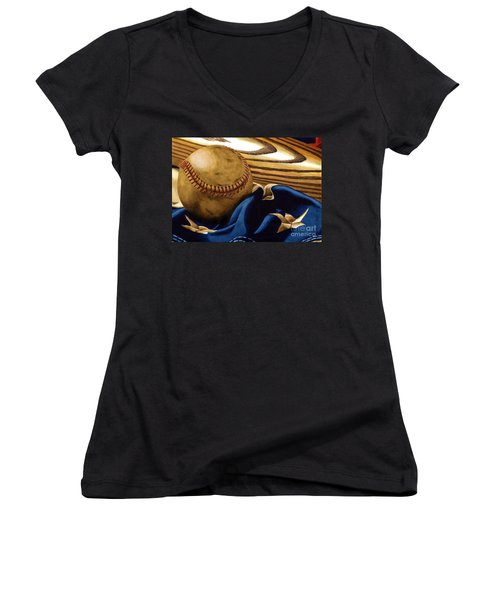 America's Pastime 3 Women's V-Neck T-Shirt