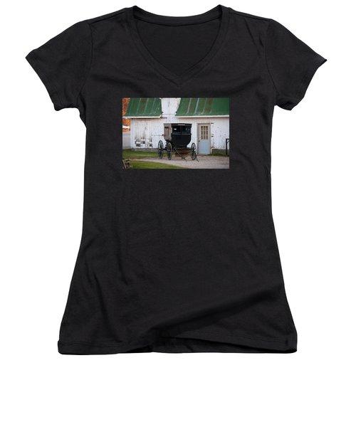 Amish Buggy White Barn Women's V-Neck T-Shirt