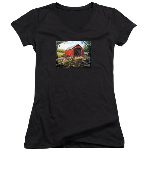 Women's V-Neck T-Shirt (Junior Cut) featuring the painting Amish Country by Lee Piper