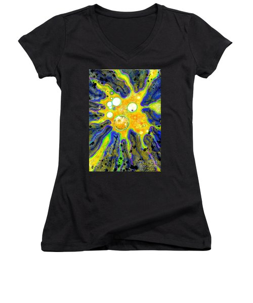 Women's V-Neck T-Shirt (Junior Cut) featuring the painting Amoeba Senescent by Carol Jacobs