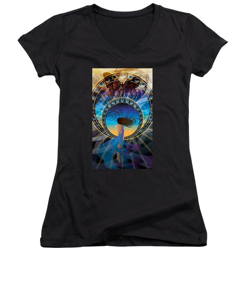Women's V-Neck featuring the digital art Amore E Nostalgia by Kenneth Armand Johnson