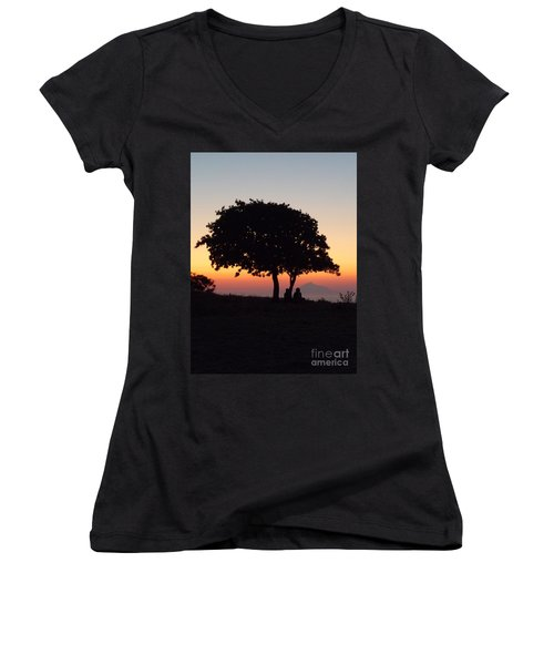 Women's V-Neck T-Shirt (Junior Cut) featuring the photograph An African Sunset by Vicki Spindler