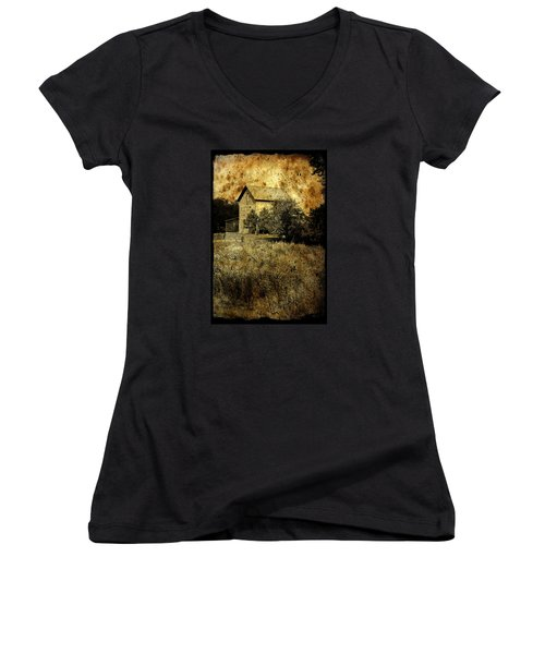 An Aged Photo Of The Old Waterloo Mill Women's V-Neck T-Shirt (Junior Cut) by Janice Adomeit