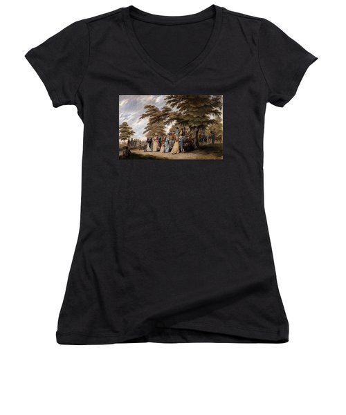 An Airing In Hyde Park, 1796 Women's V-Neck T-Shirt (Junior Cut) by Edward Days