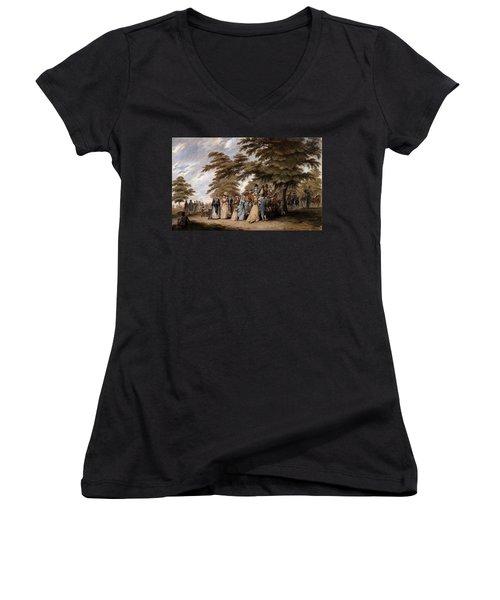 An Airing In Hyde Park, 1796 Women's V-Neck T-Shirt (Junior Cut) by Edward Days
