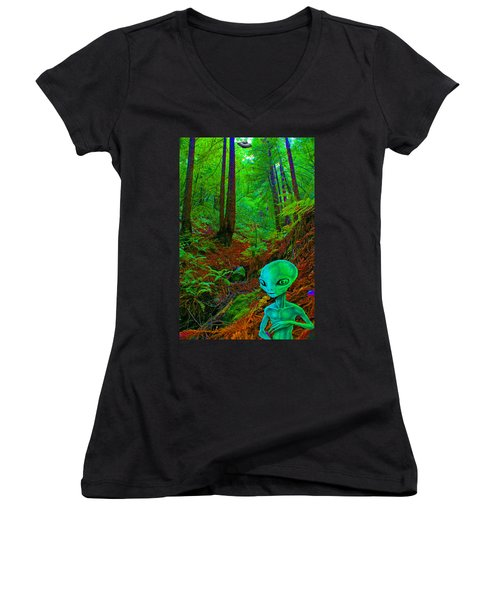 An Alien In A Cosmic Forest Of Time Women's V-Neck