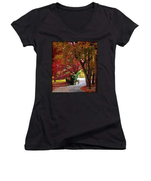 An Amish Autumn Ride Women's V-Neck (Athletic Fit)