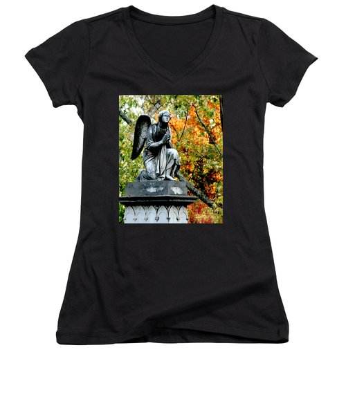 Women's V-Neck T-Shirt (Junior Cut) featuring the photograph An Angels' Prayer by Lesa Fine