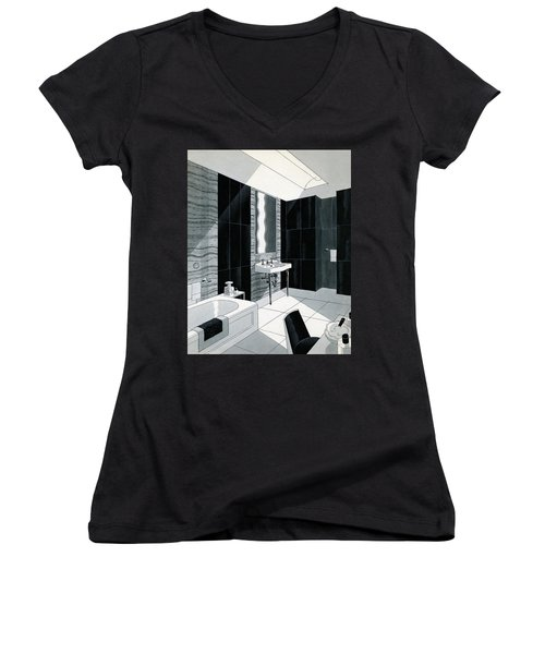 An Illustration Of A Bathroom Women's V-Neck