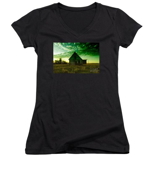 An Old North Dakota Farm House Women's V-Neck (Athletic Fit)