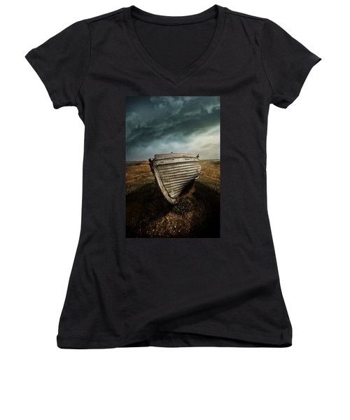 An Old Wreck On The Field. Dramatic Sky In The Background Women's V-Neck