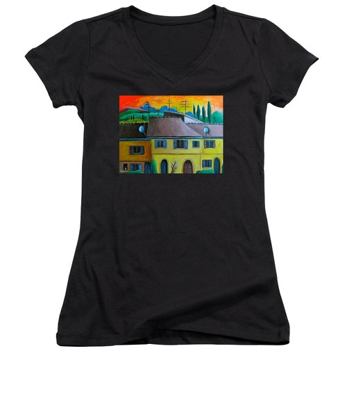 Ancient Volterra Wired Women's V-Neck T-Shirt (Junior Cut) by Victoria Lakes
