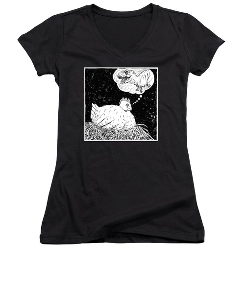 Ancestor Dreams Study Women's V-Neck T-Shirt (Junior Cut) by Holly Wood