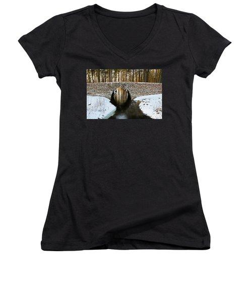 Women's V-Neck T-Shirt (Junior Cut) featuring the photograph Ancient Bridge by Kennerth and Birgitta Kullman