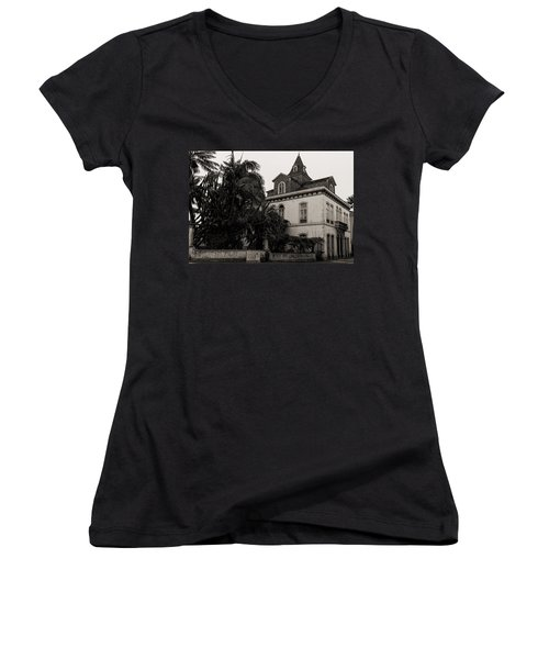Ancient Hotel And Lush Trees  Women's V-Neck (Athletic Fit)
