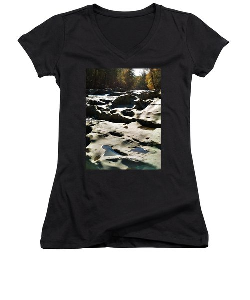Women's V-Neck T-Shirt (Junior Cut) featuring the photograph Ancient River by Janice Spivey