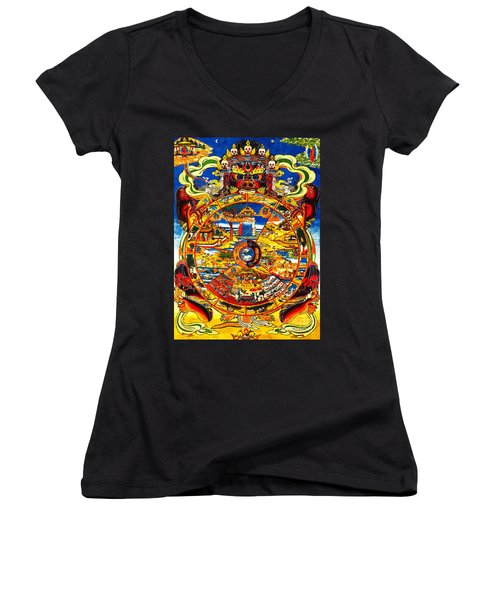 Ancient Tibetan Tangka Wheel Of Life Women's V-Neck (Athletic Fit)