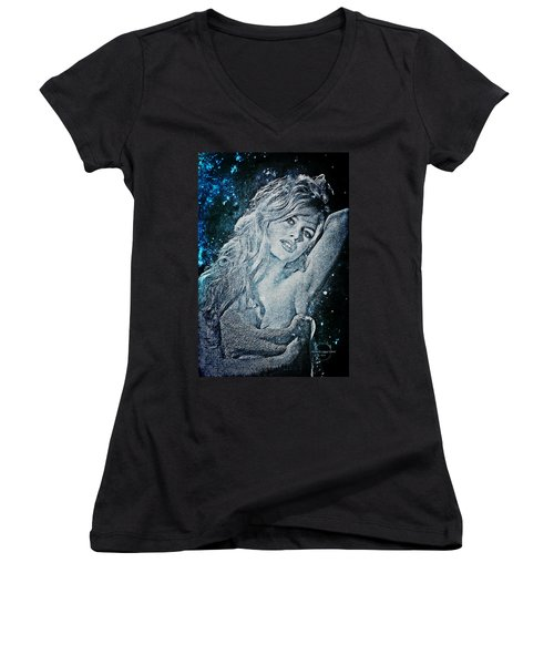 And God Created Woman Women's V-Neck T-Shirt (Junior Cut) by Absinthe Art By Michelle LeAnn Scott