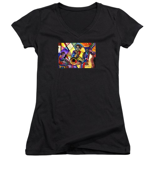 And Then There Was Da Blues Women's V-Neck T-Shirt (Junior Cut) by Everett Spruill