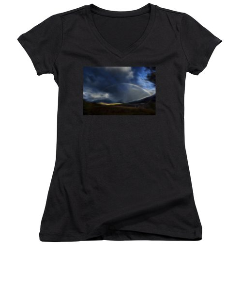 Women's V-Neck T-Shirt (Junior Cut) featuring the digital art Andean Rainbow by William Horden