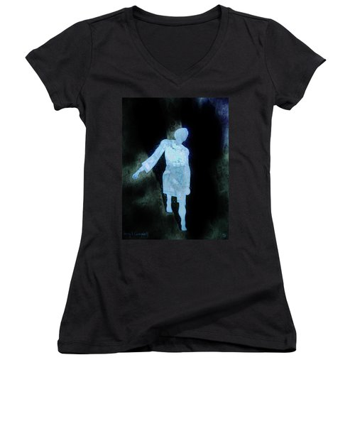 Oh That I Were An Angel  Women's V-Neck T-Shirt (Junior Cut) by Larry Campbell