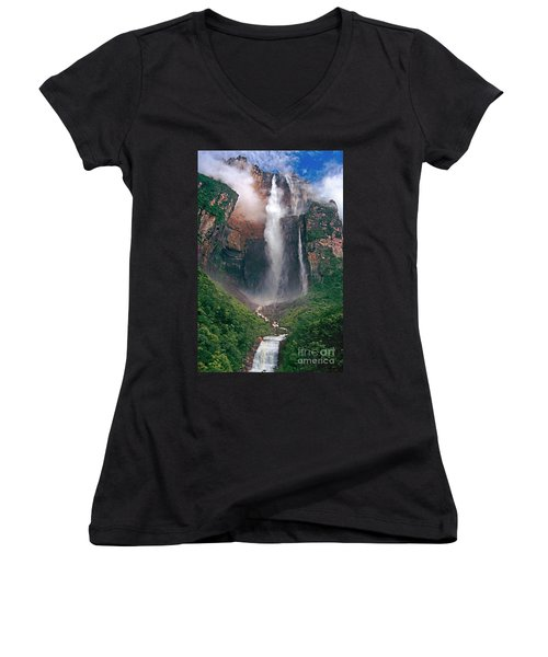 Women's V-Neck featuring the photograph Angel Falls In Venezuela by Dave Welling