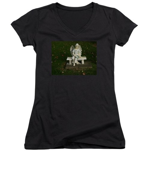 The Angel Is Watching Over Women's V-Neck (Athletic Fit)