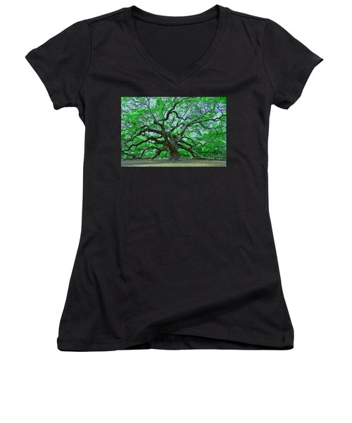 Angel Oak Women's V-Neck T-Shirt (Junior Cut) by Allen Beatty