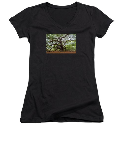 Women's V-Neck T-Shirt (Junior Cut) featuring the photograph Angel Oak Tree by Dale Powell