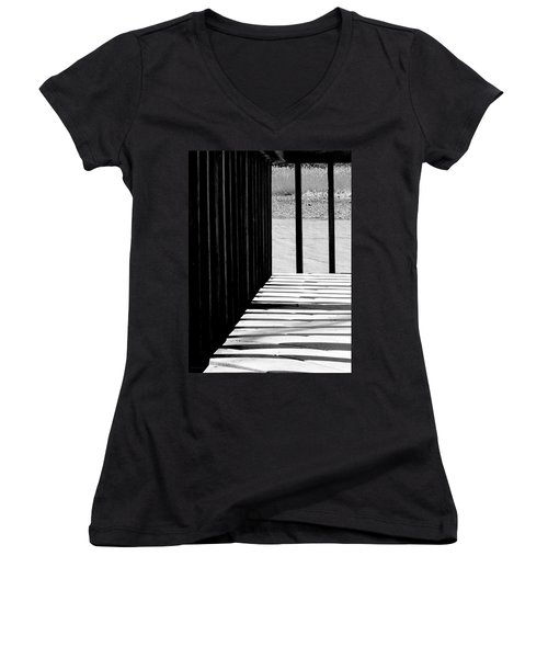 Women's V-Neck T-Shirt (Junior Cut) featuring the photograph Angles And Shadows - Black And White by Shawna Rowe