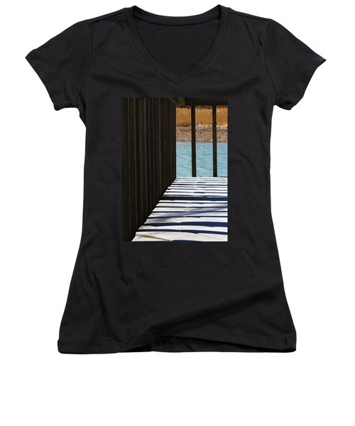 Women's V-Neck T-Shirt (Junior Cut) featuring the photograph Angles And Shadows by Shawna Rowe