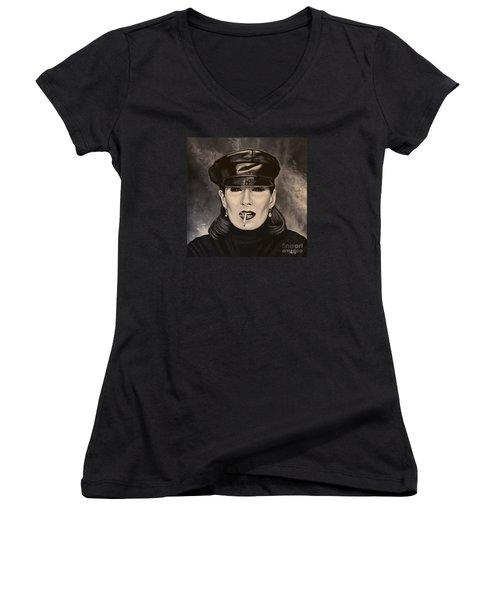 Anjelica Huston Women's V-Neck T-Shirt (Junior Cut) by Paul Meijering