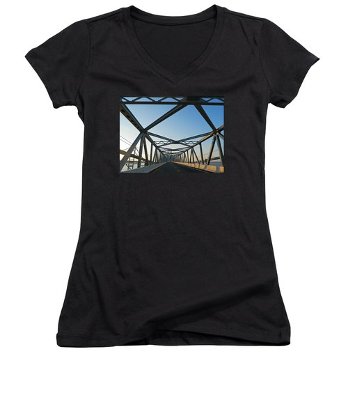 Annapolis Bay Bridge At Sunrise Women's V-Neck T-Shirt (Junior Cut) by Emmy Marie Vickers