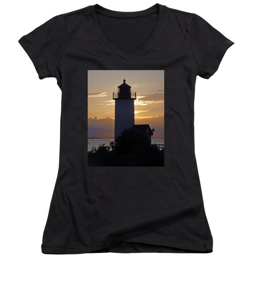Annisquam Lighthouse Sunset Women's V-Neck T-Shirt (Junior Cut) by Richard Bryce and Family