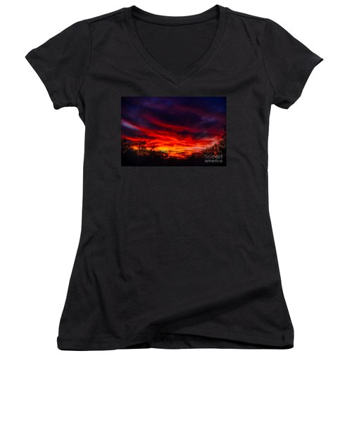 Women's V-Neck T-Shirt (Junior Cut) featuring the photograph Another Tucson Sunset by Mark Myhaver