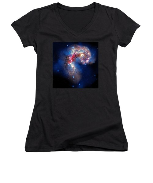 Antennae Galaxies Collide 2 Women's V-Neck T-Shirt