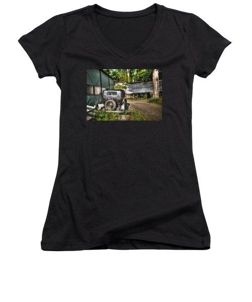 Antichrist Model T Women's V-Neck T-Shirt (Junior Cut) by John Swartz