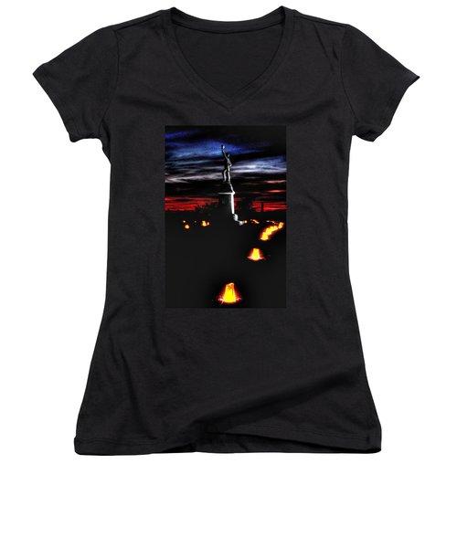 Women's V-Neck T-Shirt (Junior Cut) featuring the photograph Antietam Memorial Illumination - 3rd Pennsylvania Volunteer Infantry Sunset by Michael Mazaika