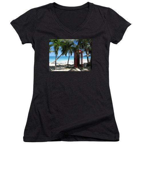 Women's V-Neck T-Shirt (Junior Cut) featuring the photograph Antigua - Phone Booth by HEVi FineArt