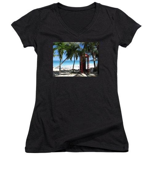 Antigua - Phone Booth Women's V-Neck T-Shirt (Junior Cut) by HEVi FineArt