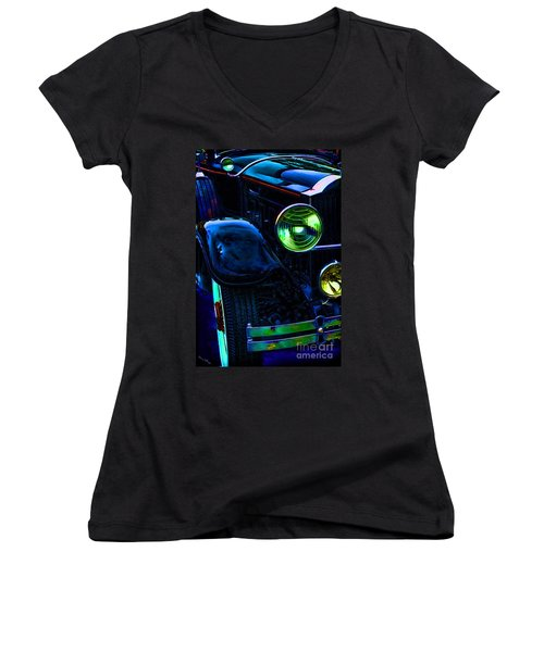 Antique Rolls Royce Car Abstract Women's V-Neck