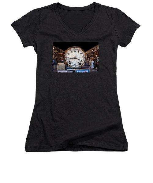 Women's V-Neck T-Shirt (Junior Cut) featuring the photograph Antique Clock Store by Gunter Nezhoda
