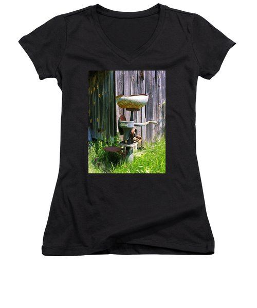 Women's V-Neck T-Shirt (Junior Cut) featuring the photograph Antique Cream Separator by Sherman Perry
