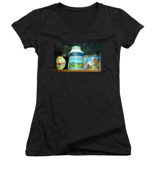 Women's V-Neck T-Shirt (Junior Cut) featuring the photograph Antique Dairy Milk Can And Pails by Judy Palkimas