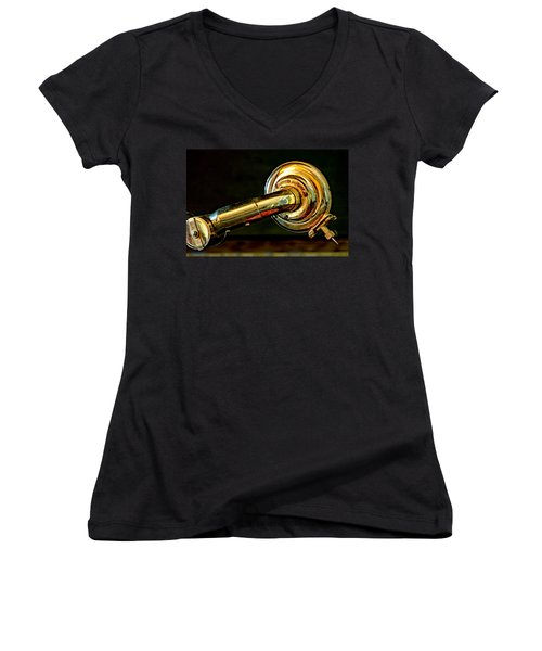 Women's V-Neck T-Shirt (Junior Cut) featuring the photograph Antique Phonograph Tonearm by Stephen Anderson