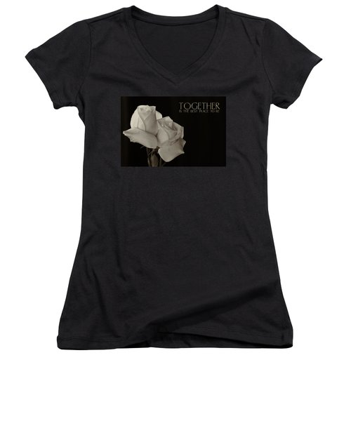 Antique Roses With Message Women's V-Neck