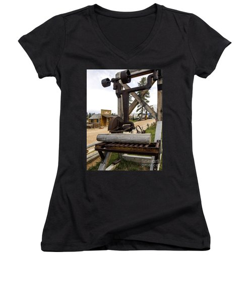 Women's V-Neck T-Shirt (Junior Cut) featuring the photograph Antique Table Saw Tool Wood Cutting Machine by Paul Fearn